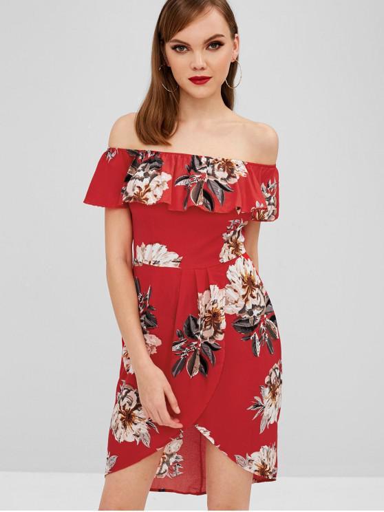 Robe asymétrique à fleurs et épaules dénudées - Rouge Lave M