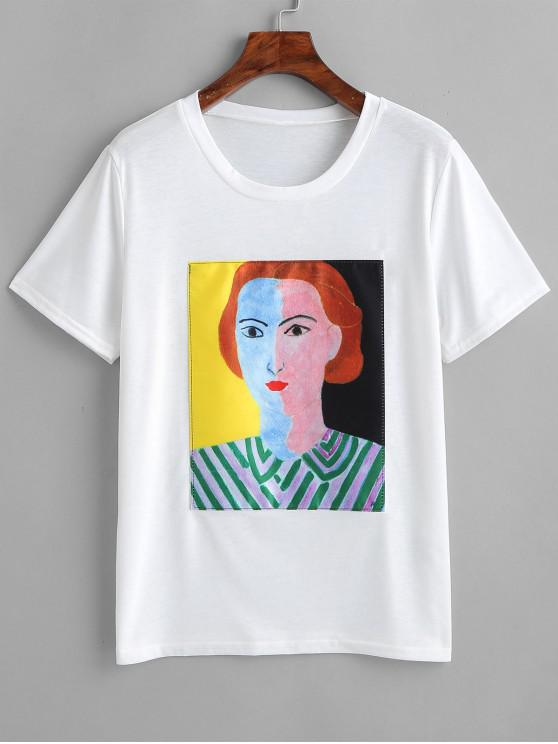 fancy Graphic Tee - WHITE M