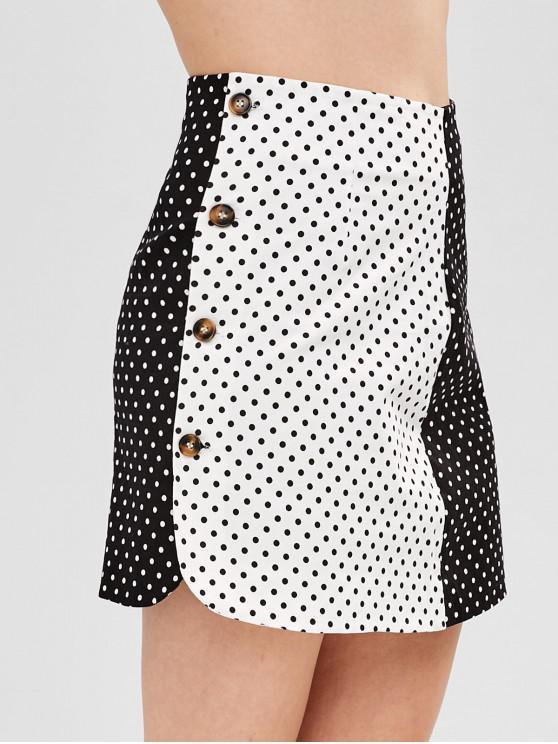 womens Two Tone Polka Dot Skirt - BLACK L
