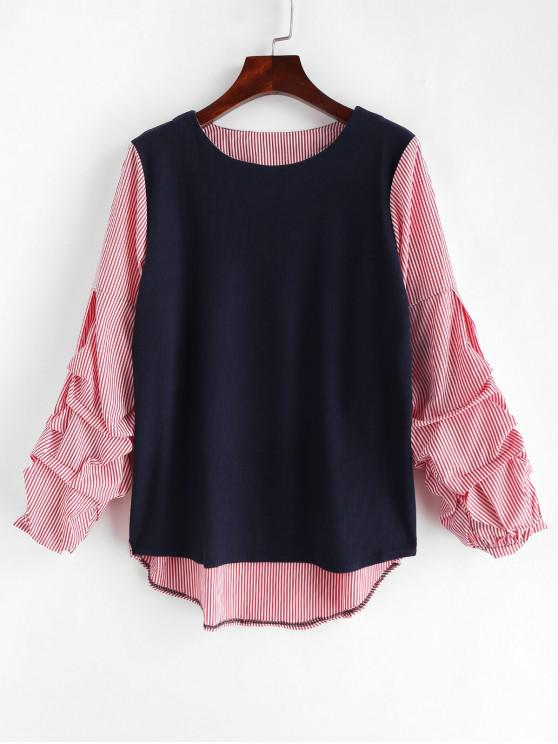 shop Bunched Sleeve Paneled Striped Top - MULTI L