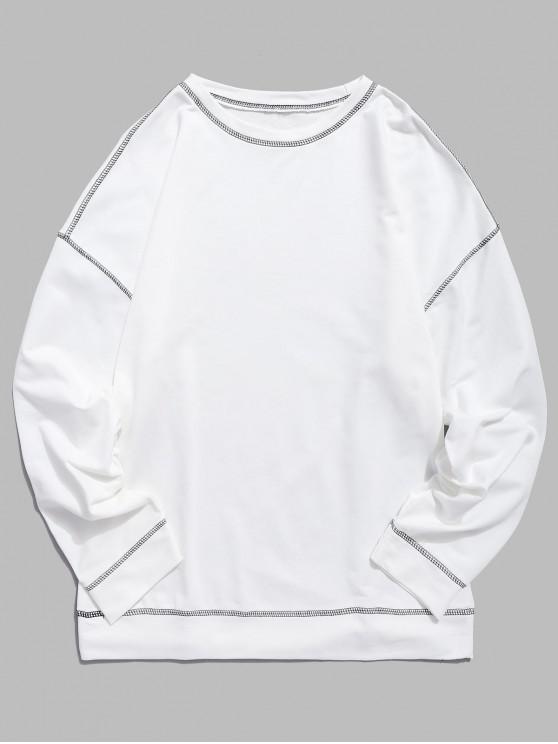 hot Contrast Flap Seam Sweatshirt - WHITE XS