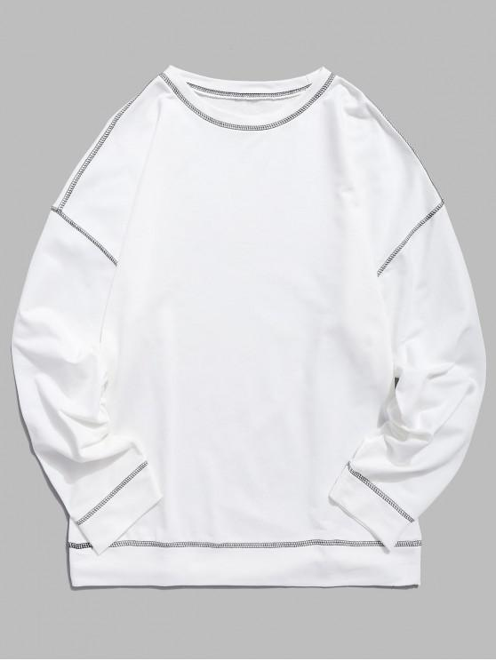 shops Contrast Flap Seam Sweatshirt - WHITE XL