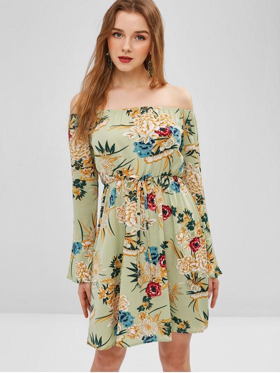 women's Off Shoulder Flower Print Short Dress - GREEN S