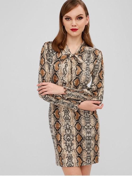 online Snake Print Front Tied Long Sleeve Dress - MULTI M