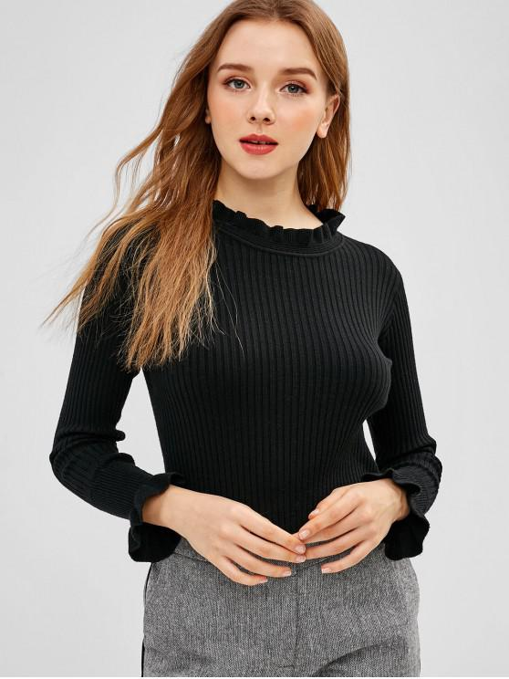 affordable Ruffle Neck Ribbed Fitted Sweater - BLACK ONE SIZE