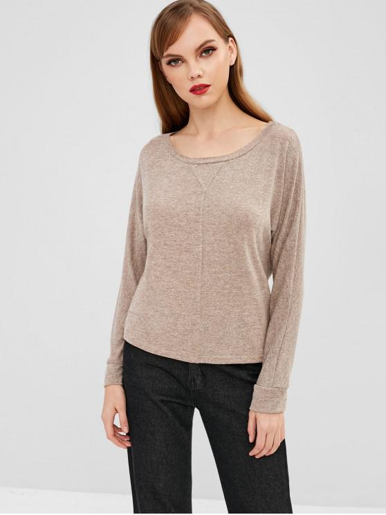 affordable Knitted Batwing Sleeve Tee - LIGHT KHAKI 2XL