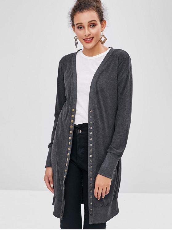 lady Snap Button Plain Cardigan - GRAY S