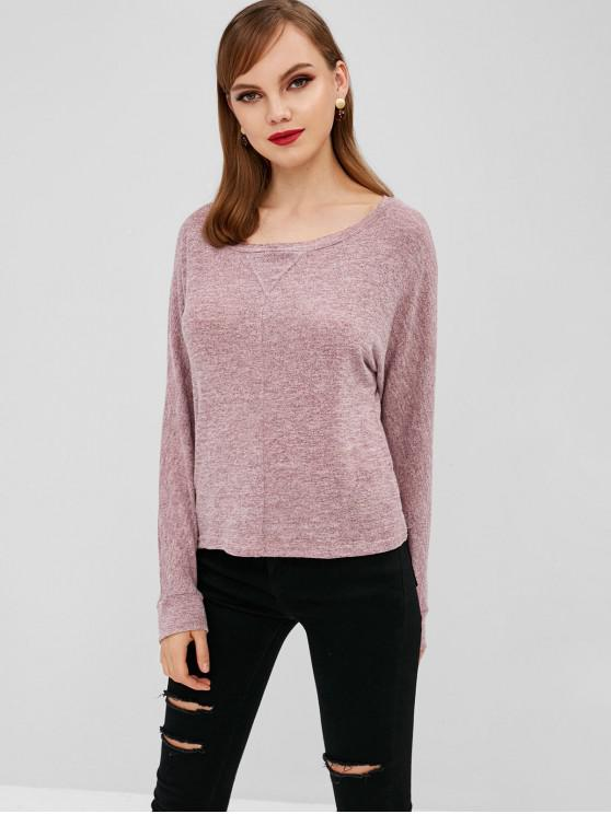 new Knitted Batwing Sleeve Tee - LIPSTICK PINK XL