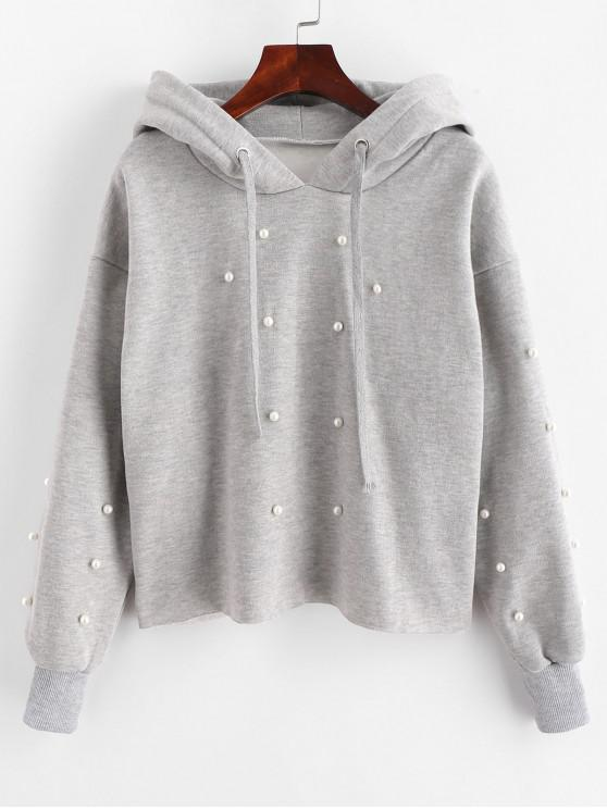 new Faux Pearl Beading Fleece Lined Hoodie - LIGHT GRAY M