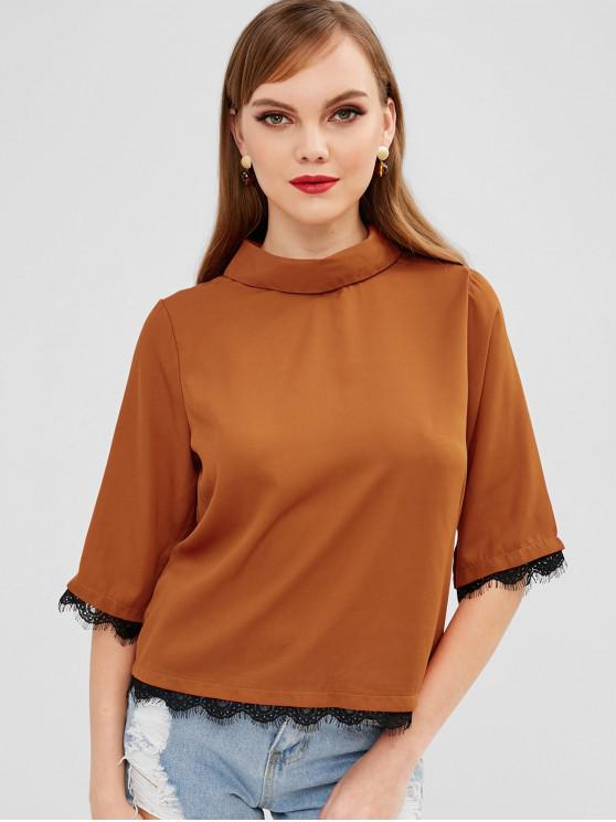 outfit Lace Panel Three Quarter Sleeves Blouse - COPPER L