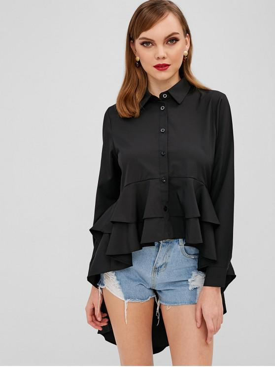 shops Longline Ruffles High Low Shirt - BLACK M