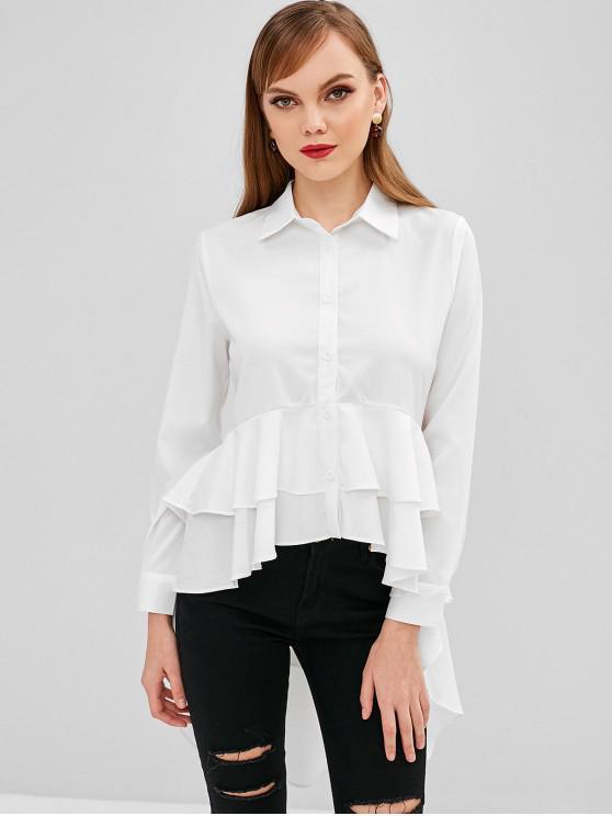 shop Longline Ruffles High Low Shirt - MILK WHITE L