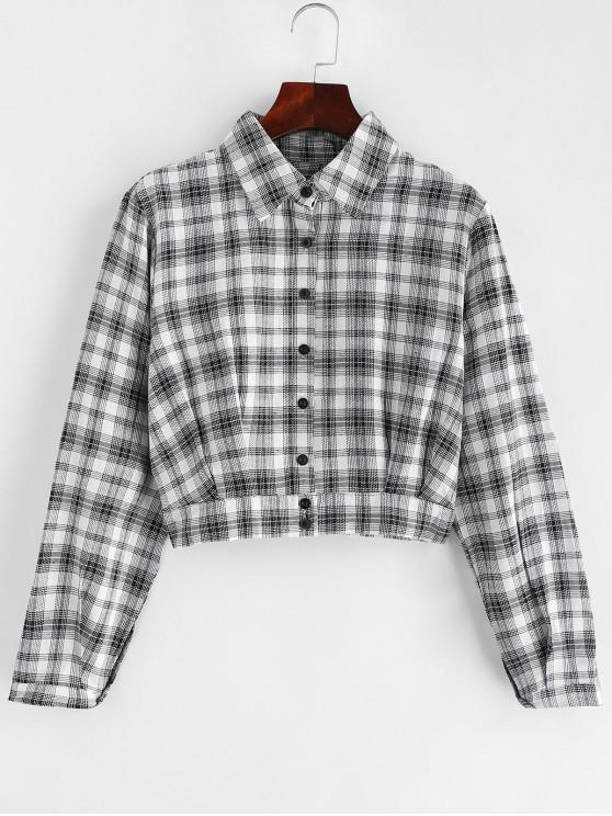 sale Pleated Hem Plaid Cropped Shirt - MULTI M