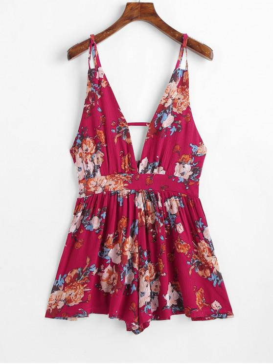 sale Backless Floral Print Cami Plunge Romper - ROSE RED L