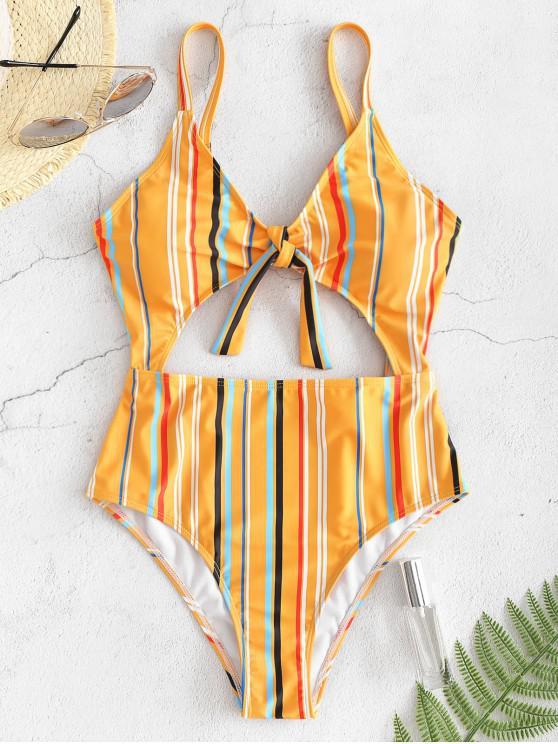 trendy ZAFUL Striped Cutout One-piece Swimsuit - BEE YELLOW S
