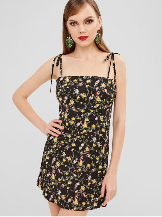 hot ZAFUL Tied Straps Floral Cami Dress - BLACK M