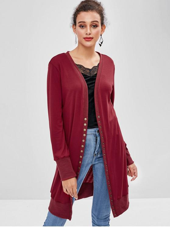 fashion Snap Button Plain Cardigan - RED WINE M