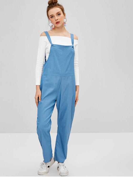 online Chambray Pocket Pinafore Jumpsuit - SILK BLUE S
