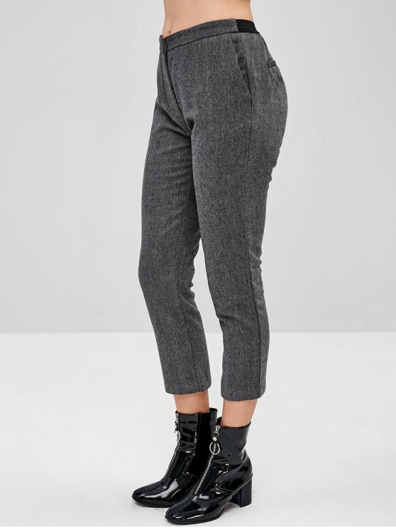 hot Faux Hip Pockets Plain Capri Pants - DARK GRAY S