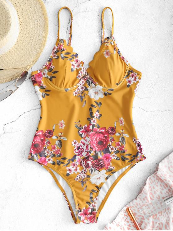 trendy ZAFUL Floral Scalloped Underwire Swimsuit - BEE YELLOW S
