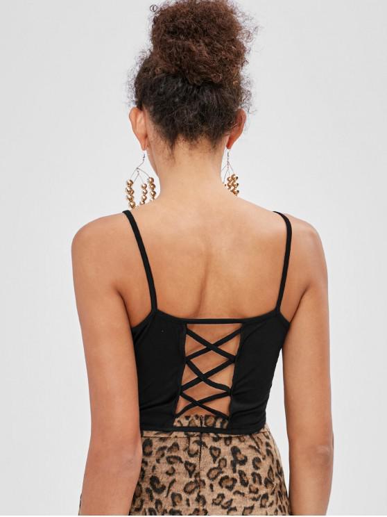 womens Tie Lattice Camisole - BLACK M