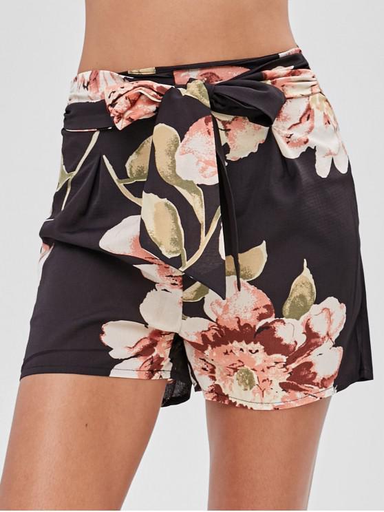 fashion Tie Floral Shorts - BLACK S