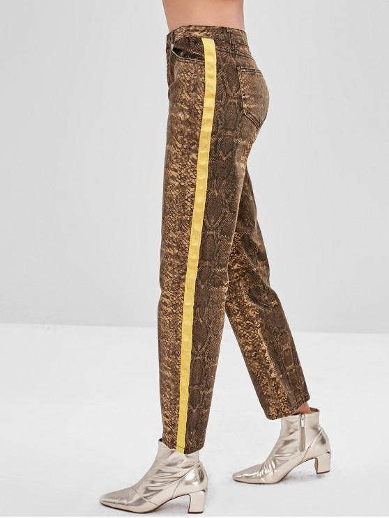 affordable Snake Print Pocket Straight Jeans - MULTI M