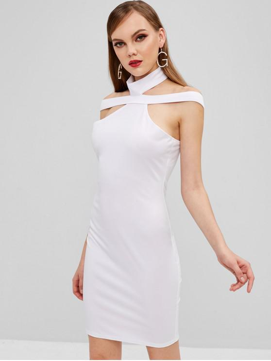 Mini Bodycon Kleid ausgeschnitten - Weiß L
