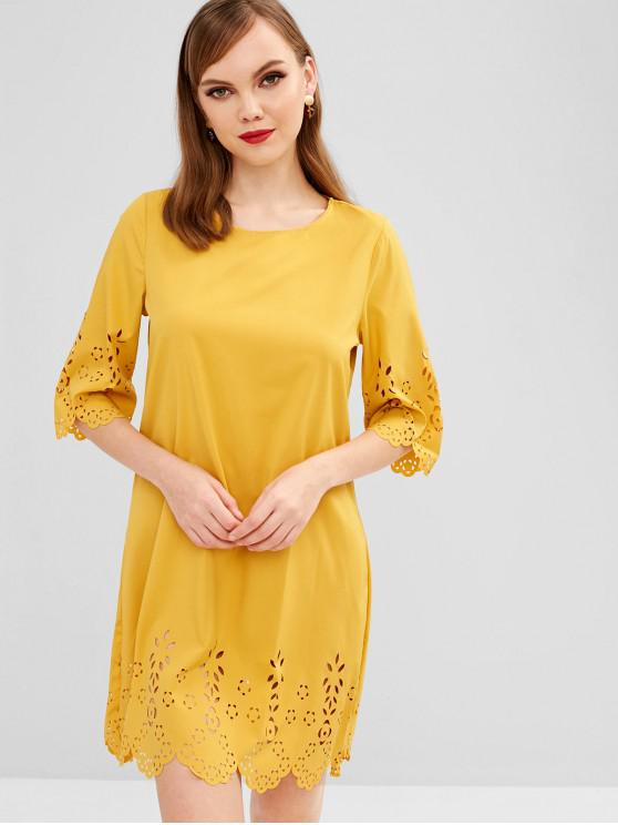 best Scalloped Laser Cut Casual Dress - BEE YELLOW S