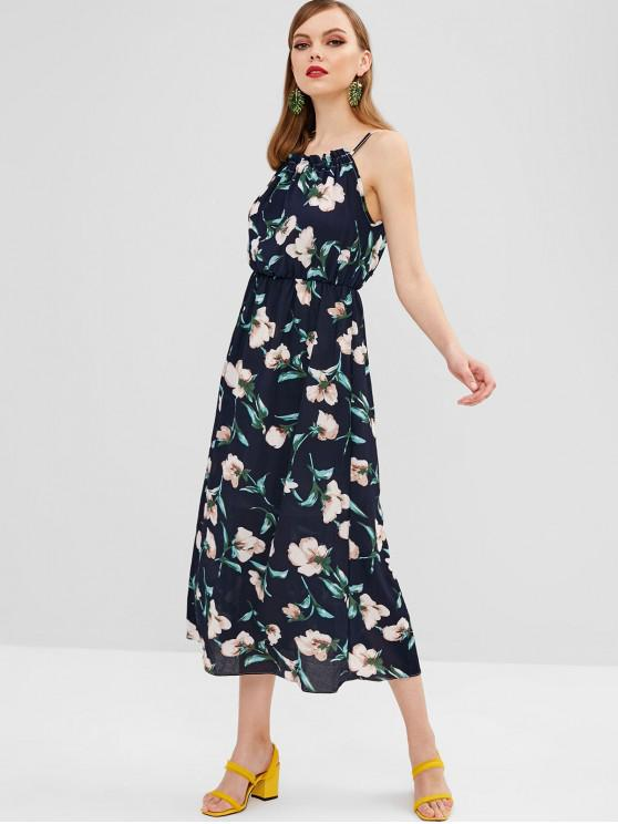 shop Sleeveless Tied Floral Maxi Dress - MIDNIGHT BLUE ONE SIZE