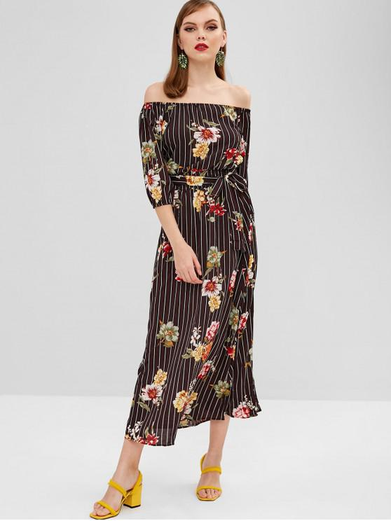 shops Slit Floral Stripes Off Shoulder Dress - BLACK M