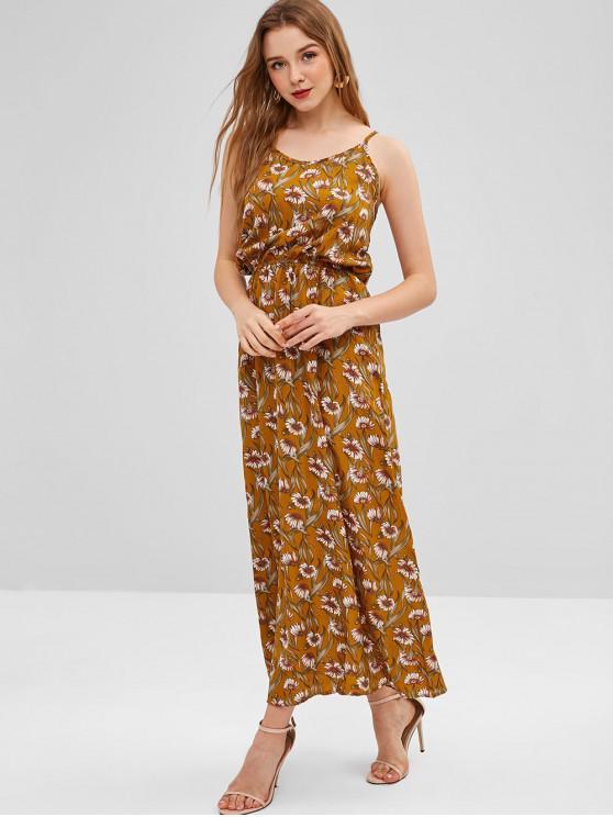 2c11e025a722 43% OFF] 2019 Sunflower Cut Out Maxi Dress In ORANGE GOLD | ZAFUL