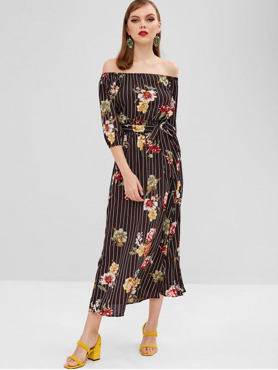 fashion Slit Floral Stripes Off Shoulder Dress - BLACK L