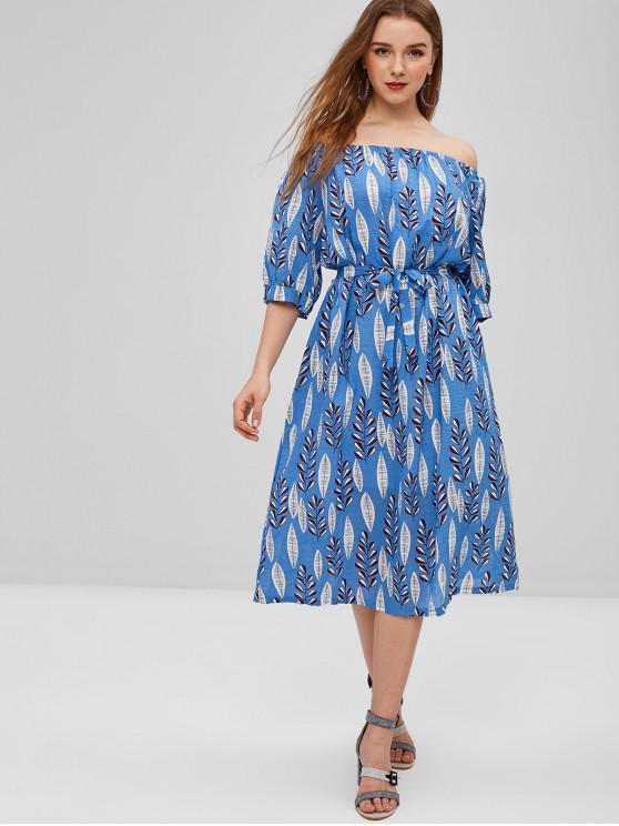 womens Leaves Belted Off Shoulder Dress - CORNFLOWER BLUE M