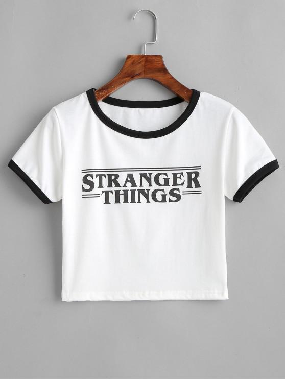 fashion Contrast Graphic Cropped Ringer Tee - WHITE L