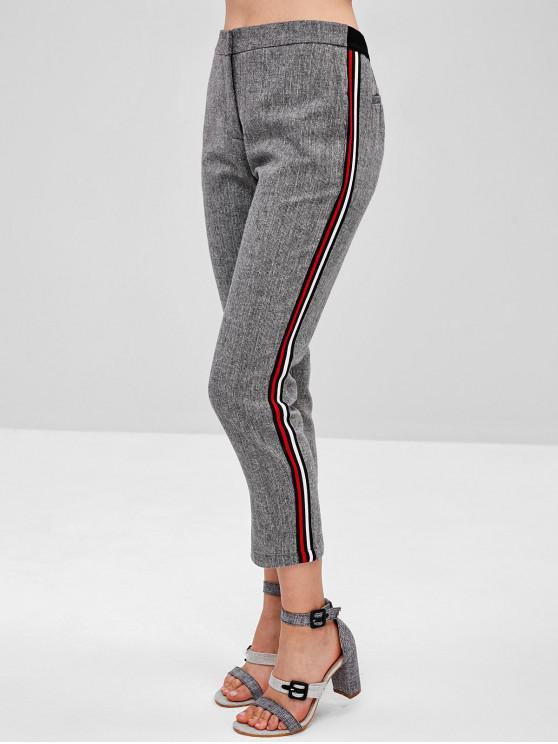 fancy Faux Hip Pockets Side Striped Capri Pants - LIGHT GRAY S