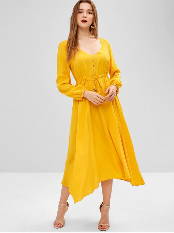 women Buttoned Long Sleeve Midi Dress - BRIGHT YELLOW S