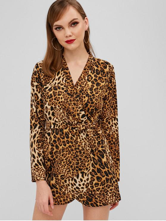 ladies Surplice Tie Belt Leopard Print Dress - LEOPARD S