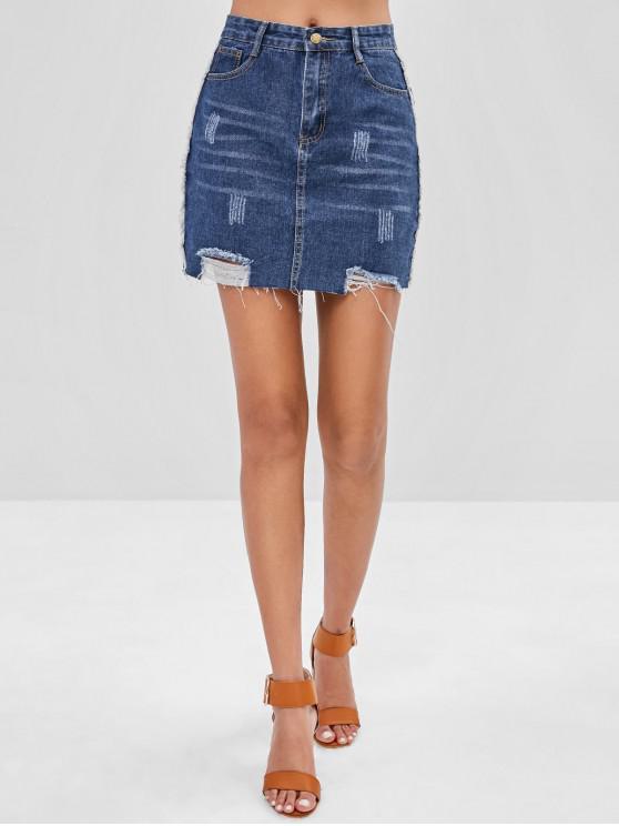 latest Ripped Zipper Denim Skirt - DENIM DARK BLUE S