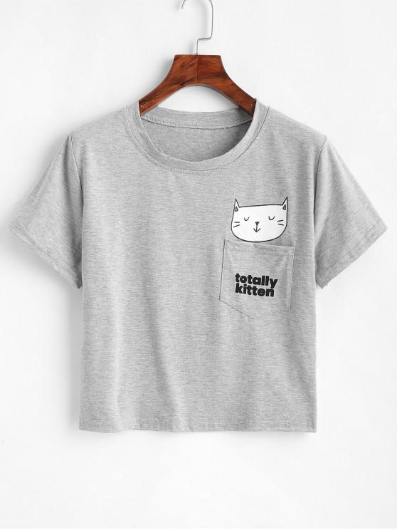 chic Kitten Graphic Patch Pocket Tee - LIGHT GRAY L