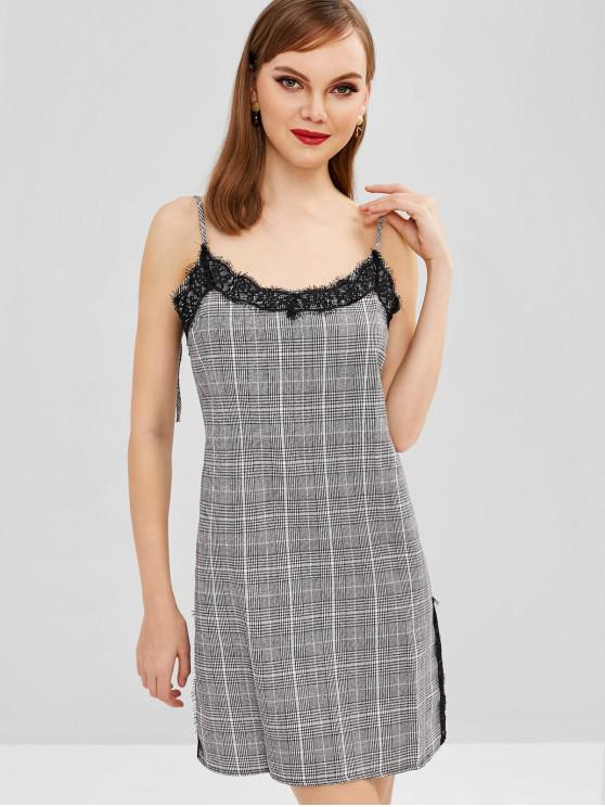 fancy Plaid Lace Panel Cami Dress - BLACK S