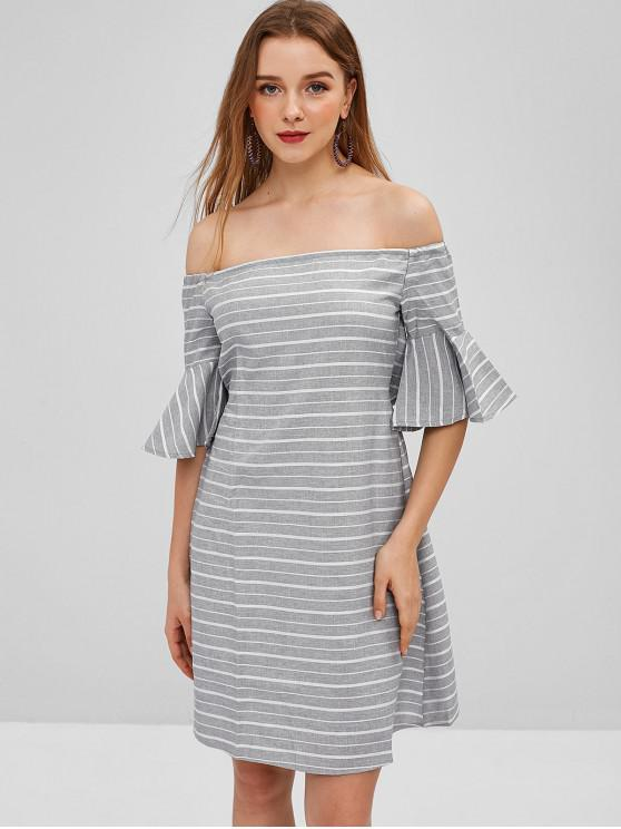 unique Cut Out Stripes Off Shoulder Dress - LIGHT GRAY M