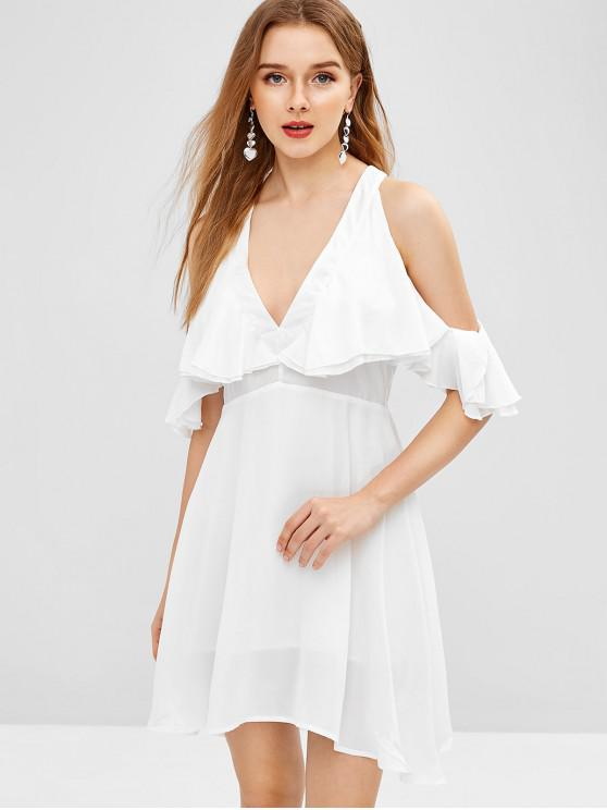 affordable V Neck Cold Shoulder Mini Dress - MILK WHITE L