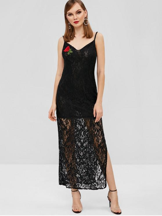 lady Slit Embroidered Patched Lace Dress - BLACK L