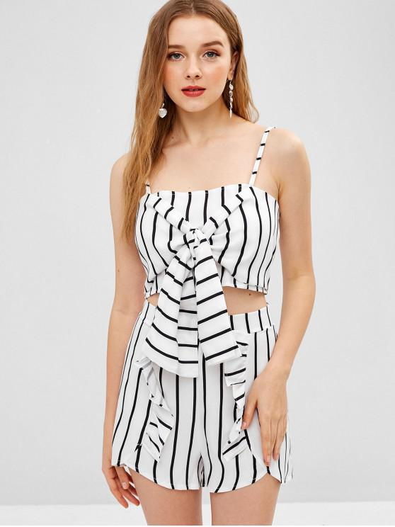 fancy Smocked Tie Front Stripes Shorts Set - MILK WHITE L