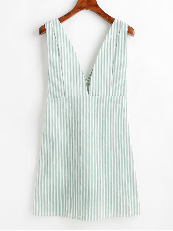 sale Striped Backless Plunge Mini Dress - MULTI S