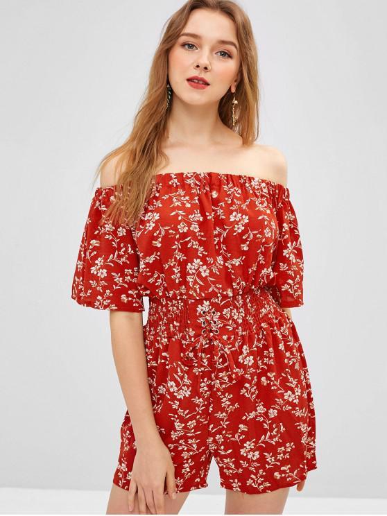 latest Floral Off Shoulder Lace Up Romper - CHESTNUT RED XL