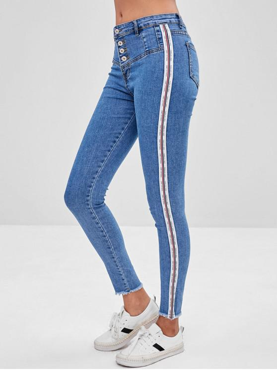outfits Striped Trim Button Fly Frayed Jeans - BLUE M