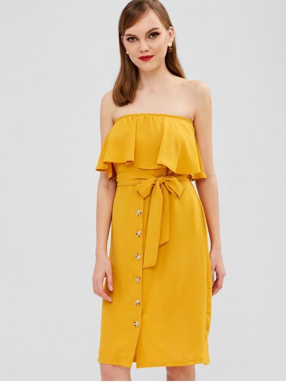 best Ruffles Buttoned Strapless Dress - YELLOW L