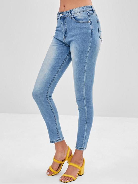 unique Pocket Light Wash Skinny Jeans - BLUE M